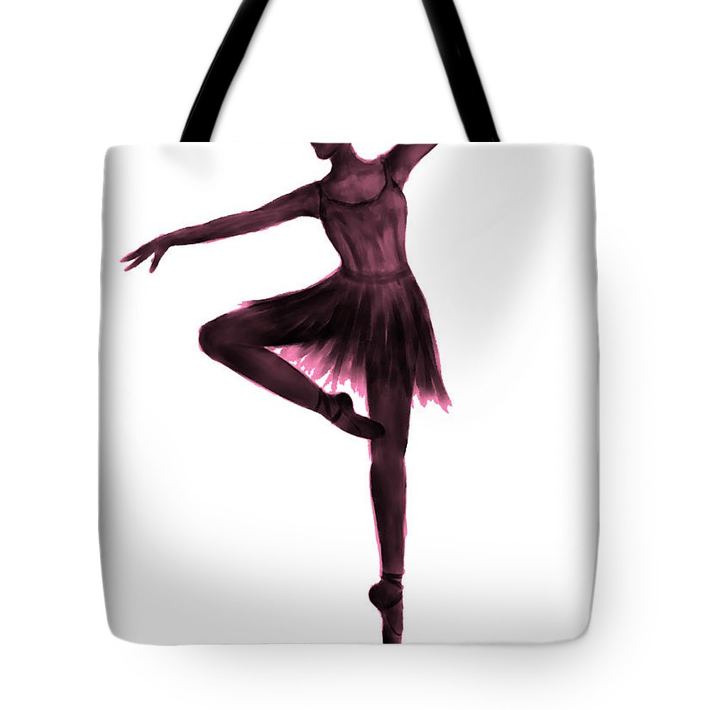 Ballet Tote Bag featuring the digital art Grace - Pink by Alina Davis