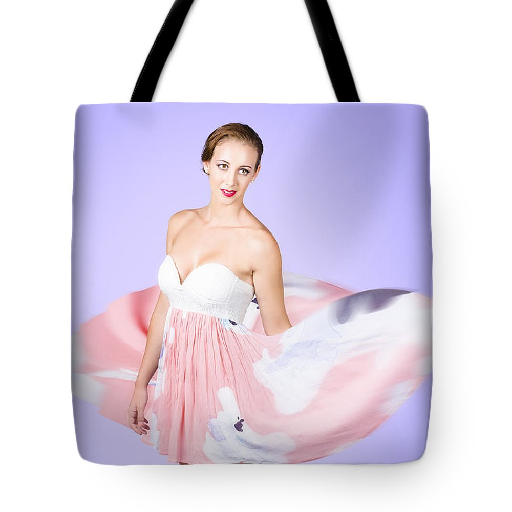 Graceful Tote Bag featuring the photograph Graceful Dreamy Dancing Girl In Pink Dress by Jorgo Photography - Wall Art Gallery