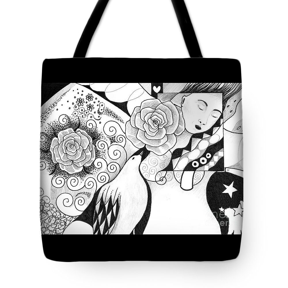 Grace Tote Bag featuring the drawing Gracefully by Helena Tiainen