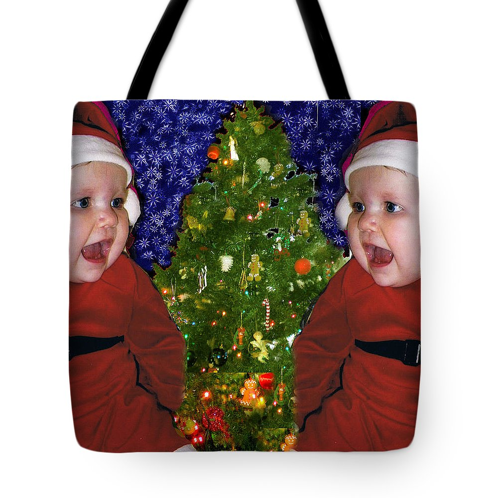 Christmas Tote Bag featuring the digital art Gracies Christmas Tree by Seth Weaver
