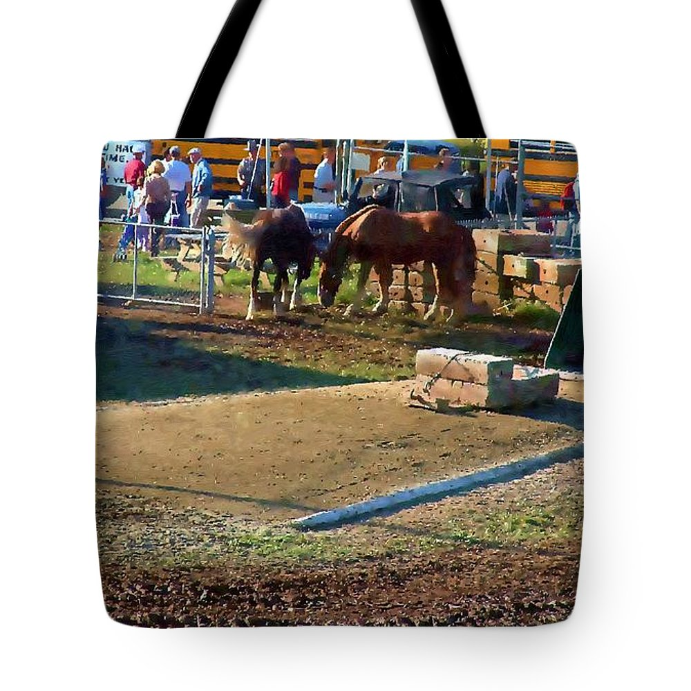Agricultural Tote Bag featuring the painting Grading The Ring by RC DeWinter
