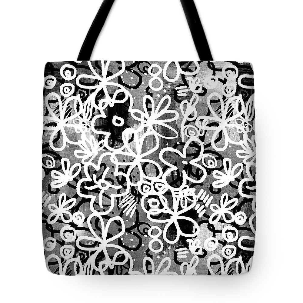 Floral Tote Bag featuring the mixed media Graffiti Garden - Art By Linda Woods by Linda Woods
