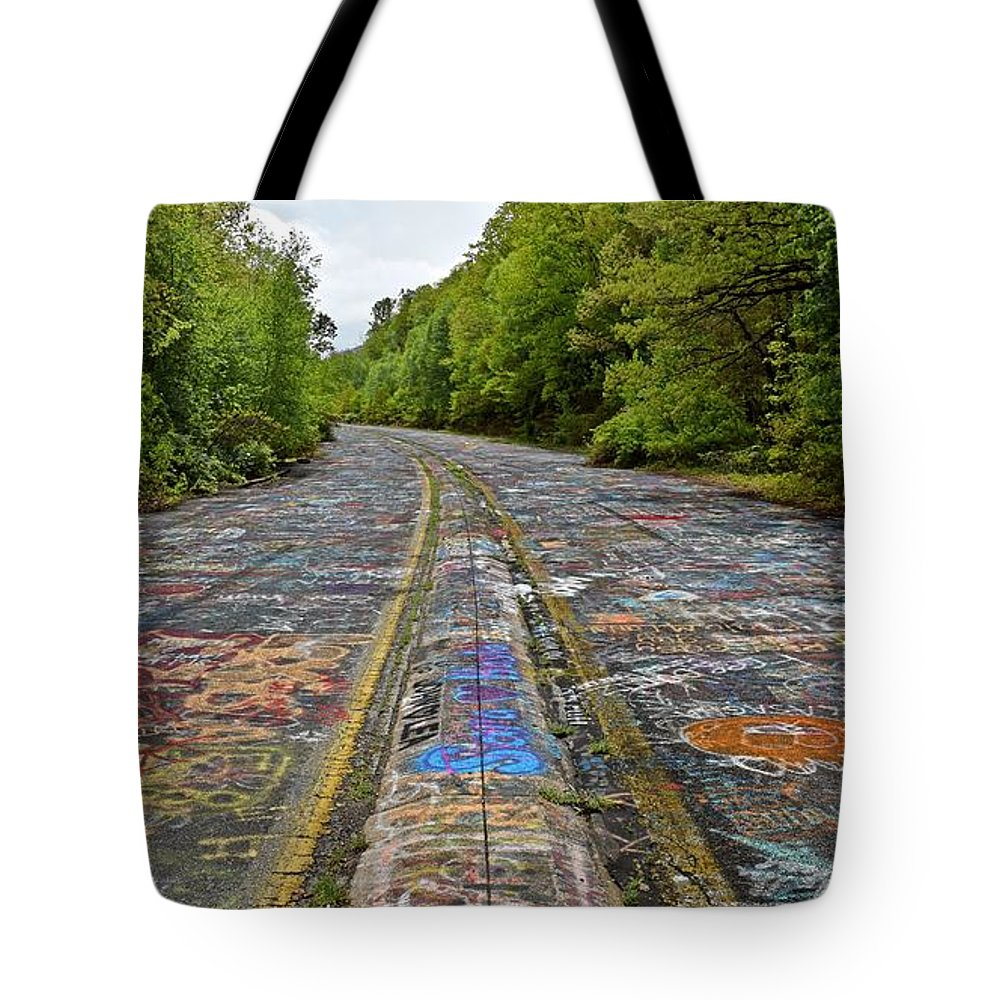 May Tote Bag featuring the photograph Graffiti Highway, Facing North by Ben Schumin