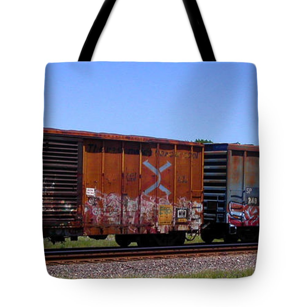 Train Tote Bag featuring the photograph Graffiti Train With Billboard by Anne Cameron Cutri