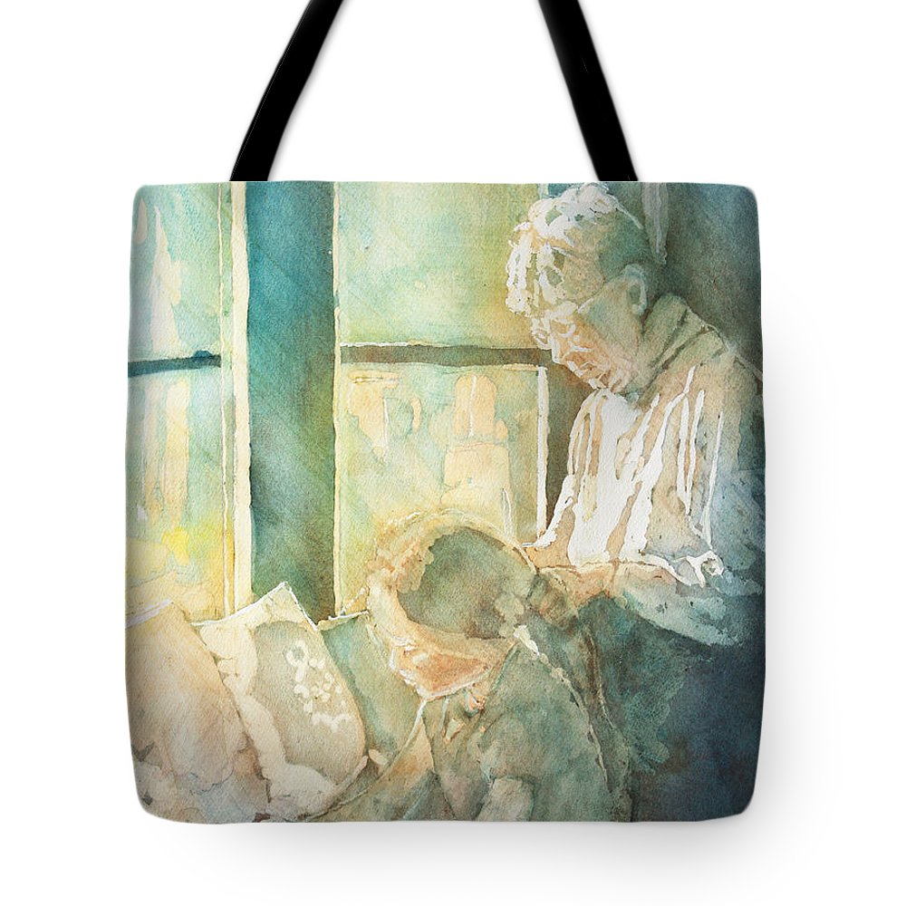Family Tote Bag featuring the painting Gramdma Braids by Jenny Armitage