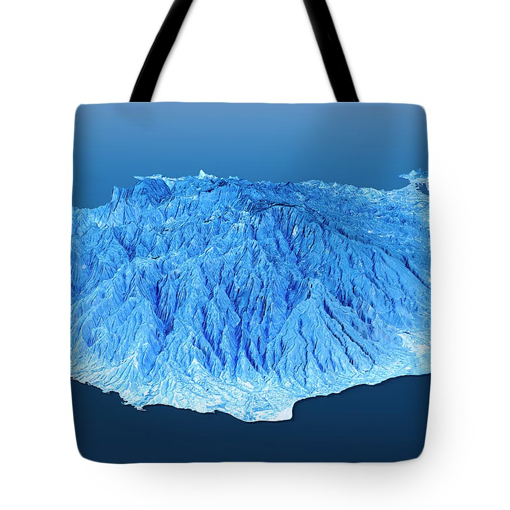 Gran Canaria Tote Bag featuring the digital art Gran Canaria Topographic Map 3d Landscape View Blue Color by Frank Ramspott