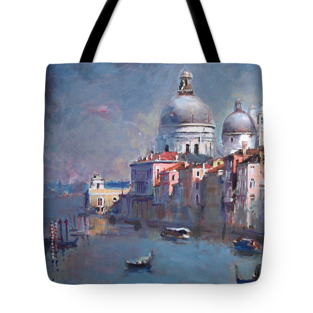 Landscape Tote Bag featuring the painting Grand Canal Venice by Ylli Haruni