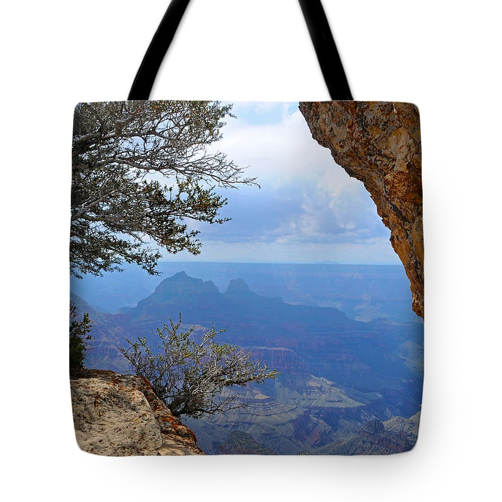 Grand Canyon North Rim Tote Bag featuring the photograph Grand Canyon North Rim Window in the Rock by Victoria Oldham