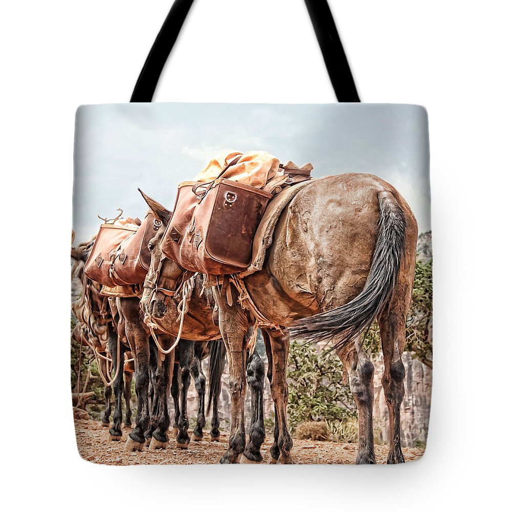 Mules Tote Bag featuring the photograph Grand Canyon Pack Mules by Sissy Schneiderman