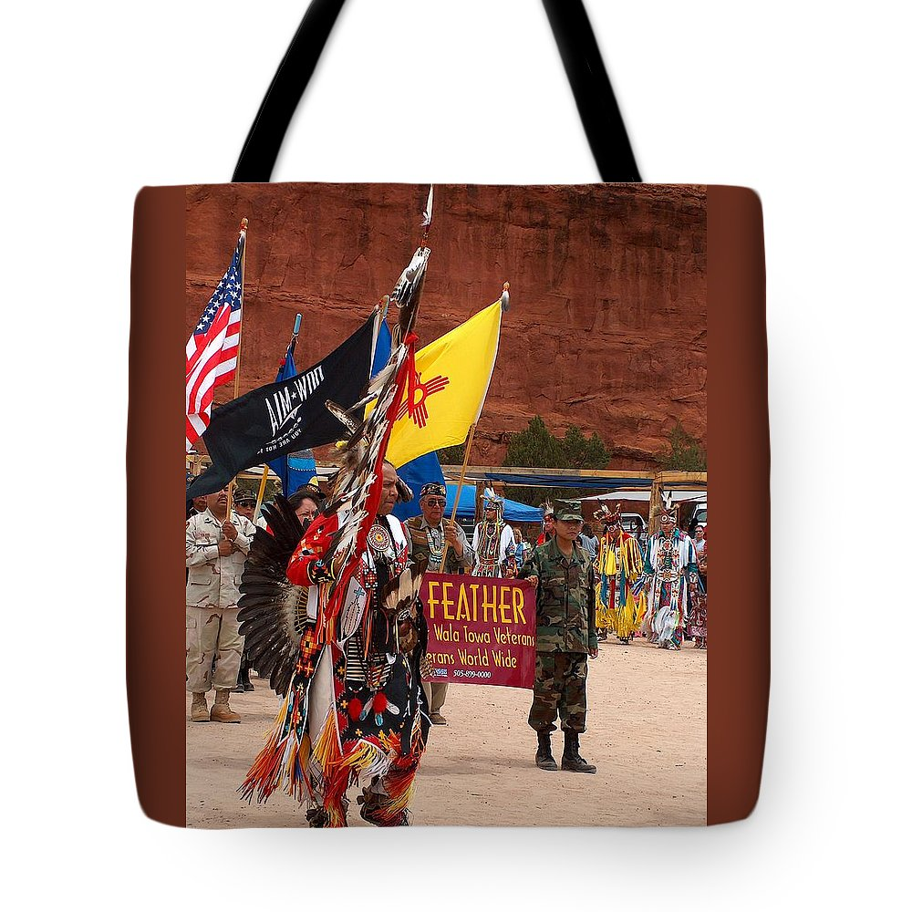 Pow-wow Tote Bag featuring the photograph Grand Entry At Star Feather Pow-wow by Tim McCarthy