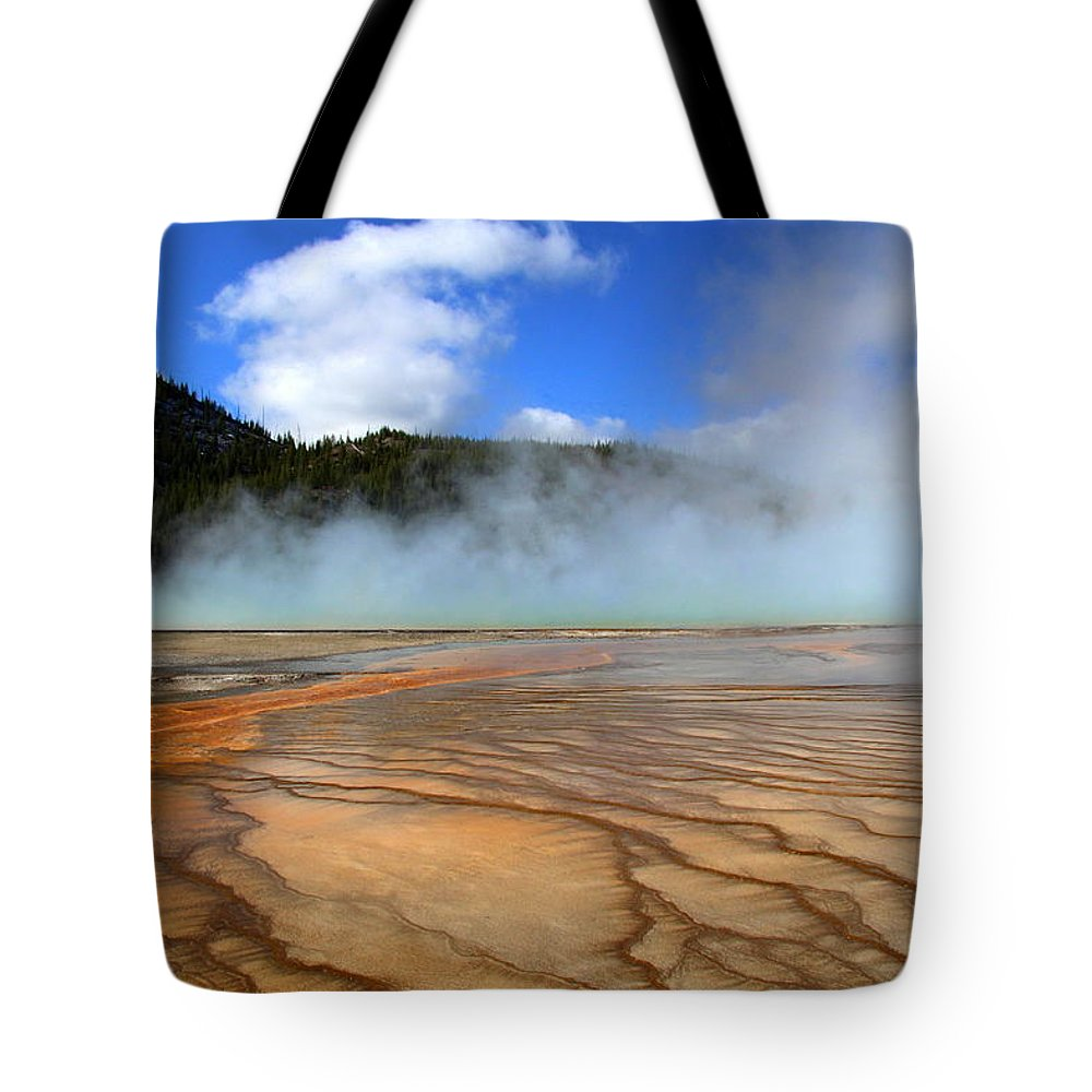Yellowstone Tote Bag featuring the photograph Grand Prismatic Patterns by Mary Bluepony