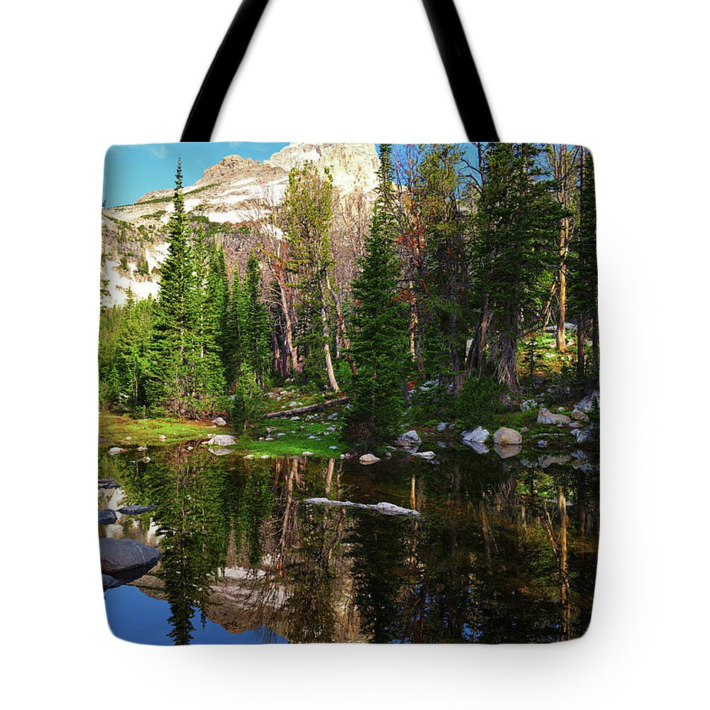 Grand Teton Tote Bag featuring the photograph Grand Teton High Alpine Reflections by Greg Norrell