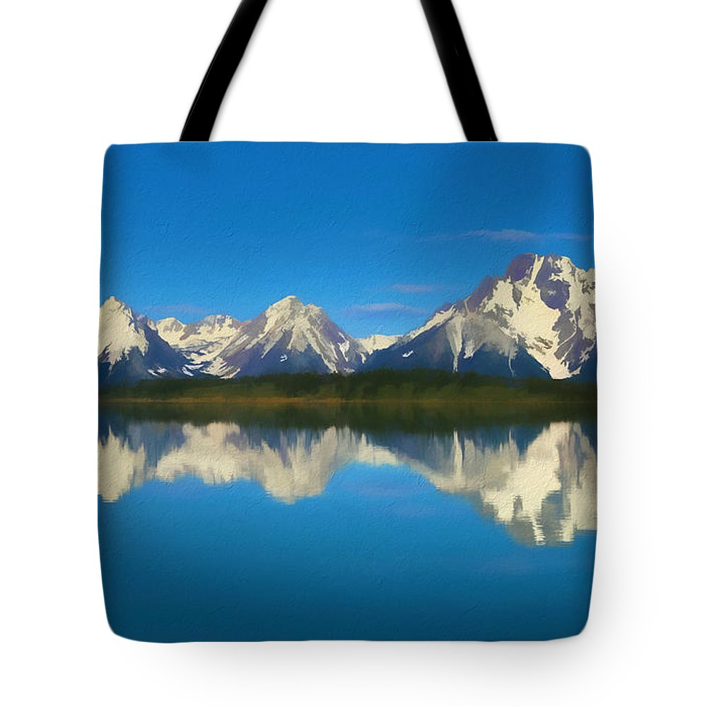 Grand Teton Reflection Wood Texture Tote Bag featuring the mixed media Grand Teton Reflection Wood Texture by Dan Sproul