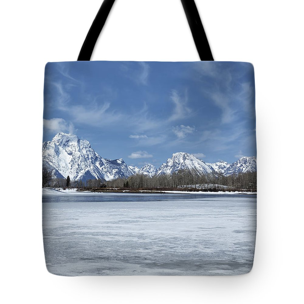 Grand Tetons Tote Bag featuring the photograph Grand Tetons And Snake River From Oxbow Bend by Belinda Greb