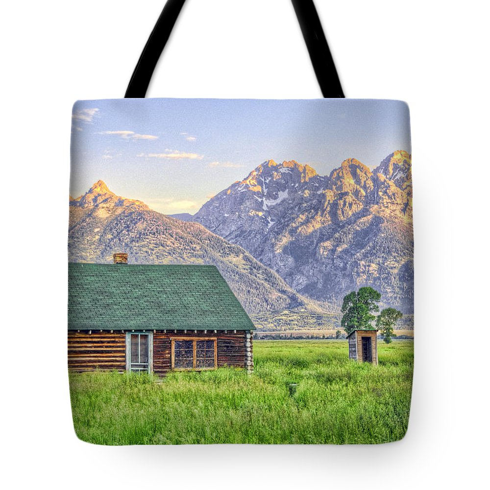Barns Mormon Row Grand Tetons Tote Bag featuring the photograph Grand Tetons by Mark Andrews