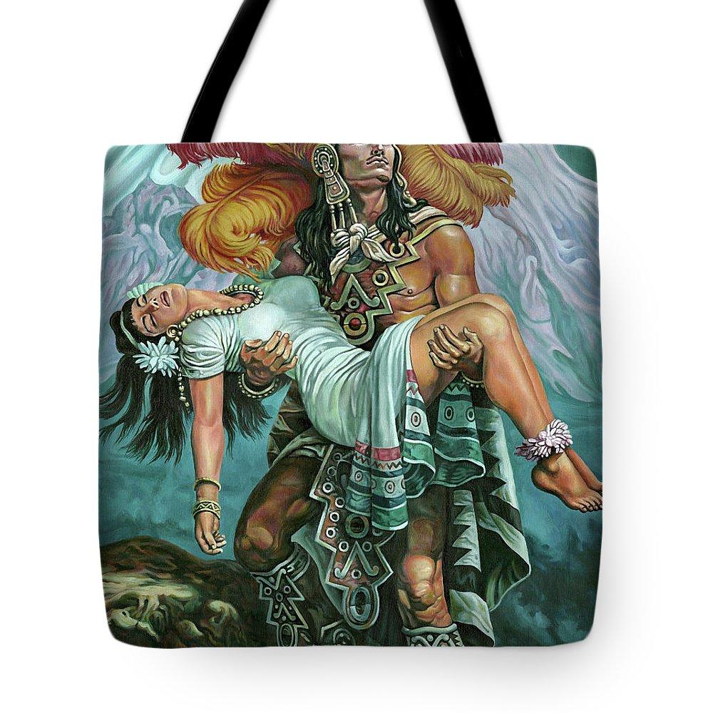 Aztec Warrior Paintings Tote Bags