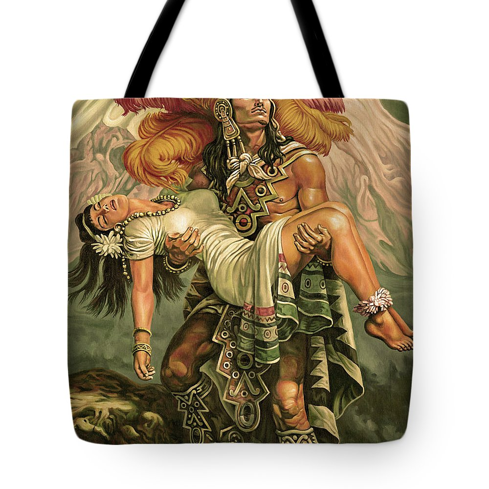 Indian Tote Bag featuring the painting Grandeza Azteca Sepia by Daniel Ayala