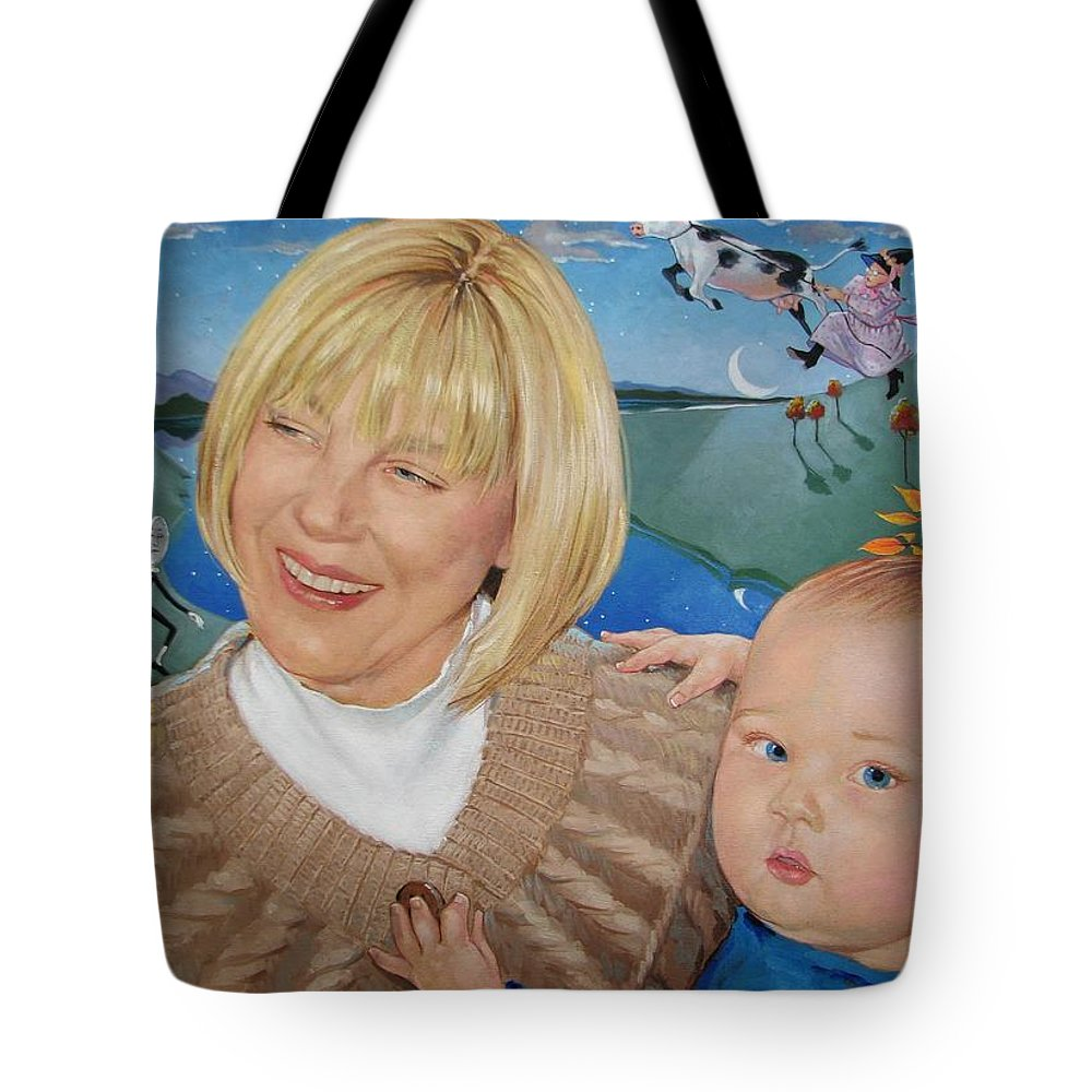 Portrait Tote Bag featuring the painting Grandma And Kaidin by Jerrold Carton
