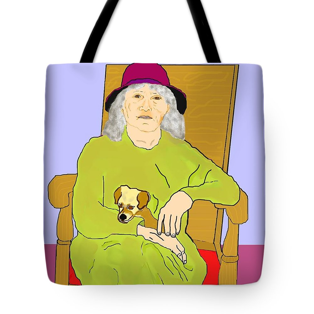 Grandmother Tote Bag featuring the painting Grandma And Puppy by Pharris Art