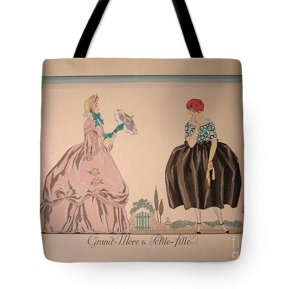 Georges Barbier Tote Bag featuring the painting Grandmother And Granddaughter by Celestial Images