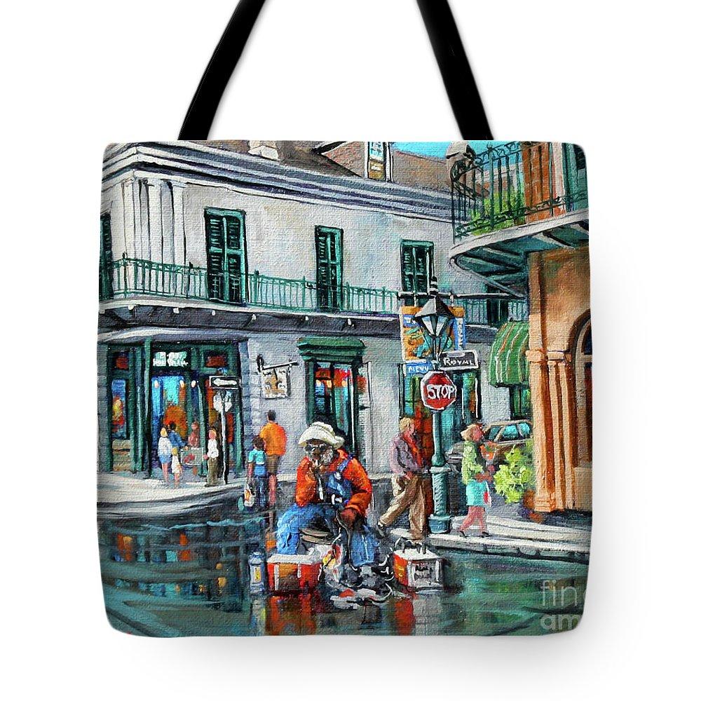 Grandpa Elliott Tote Bag featuring the painting Grandpas Corner by Dianne Parks