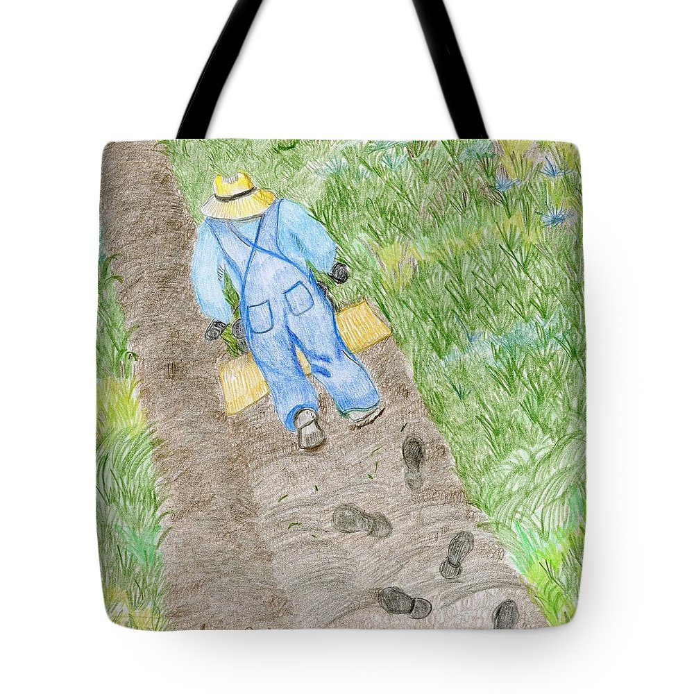 Grandpa Tote Bag featuring the drawing Grandpa's Footsteps by Nancy Suiter