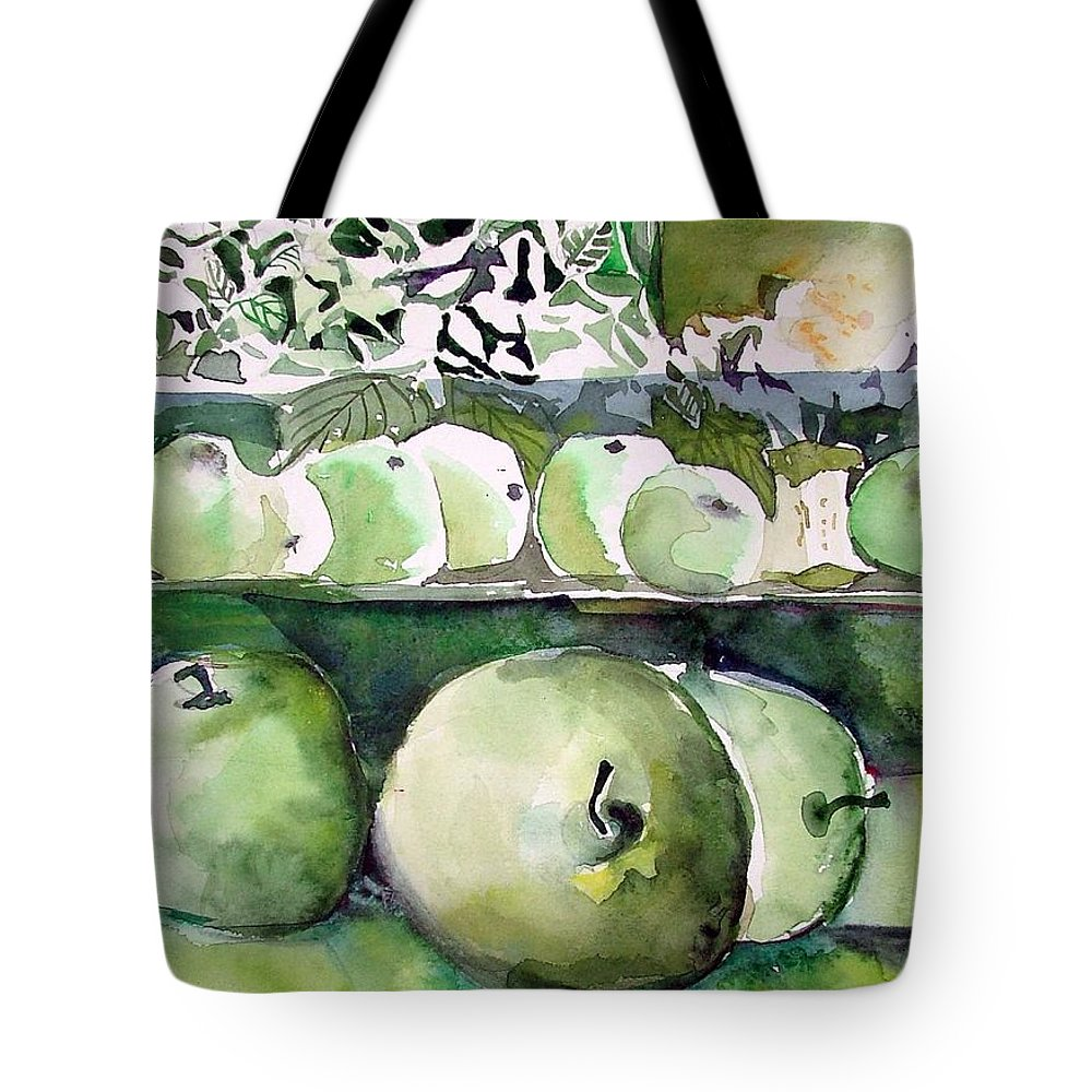 Apple Tote Bag featuring the painting Granny Smith Apples by Mindy Newman
