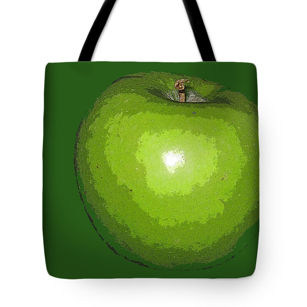 Apple Tote Bag featuring the digital art Granny Smith by Ian MacDonald