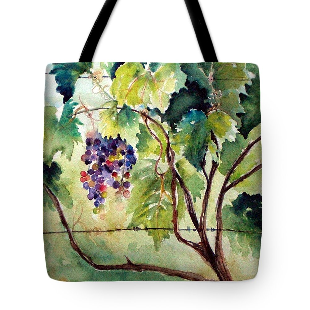 Otter Creek Winery Tote Bag featuring the painting Grape Vines At Otter Creek by Kathy Sturr