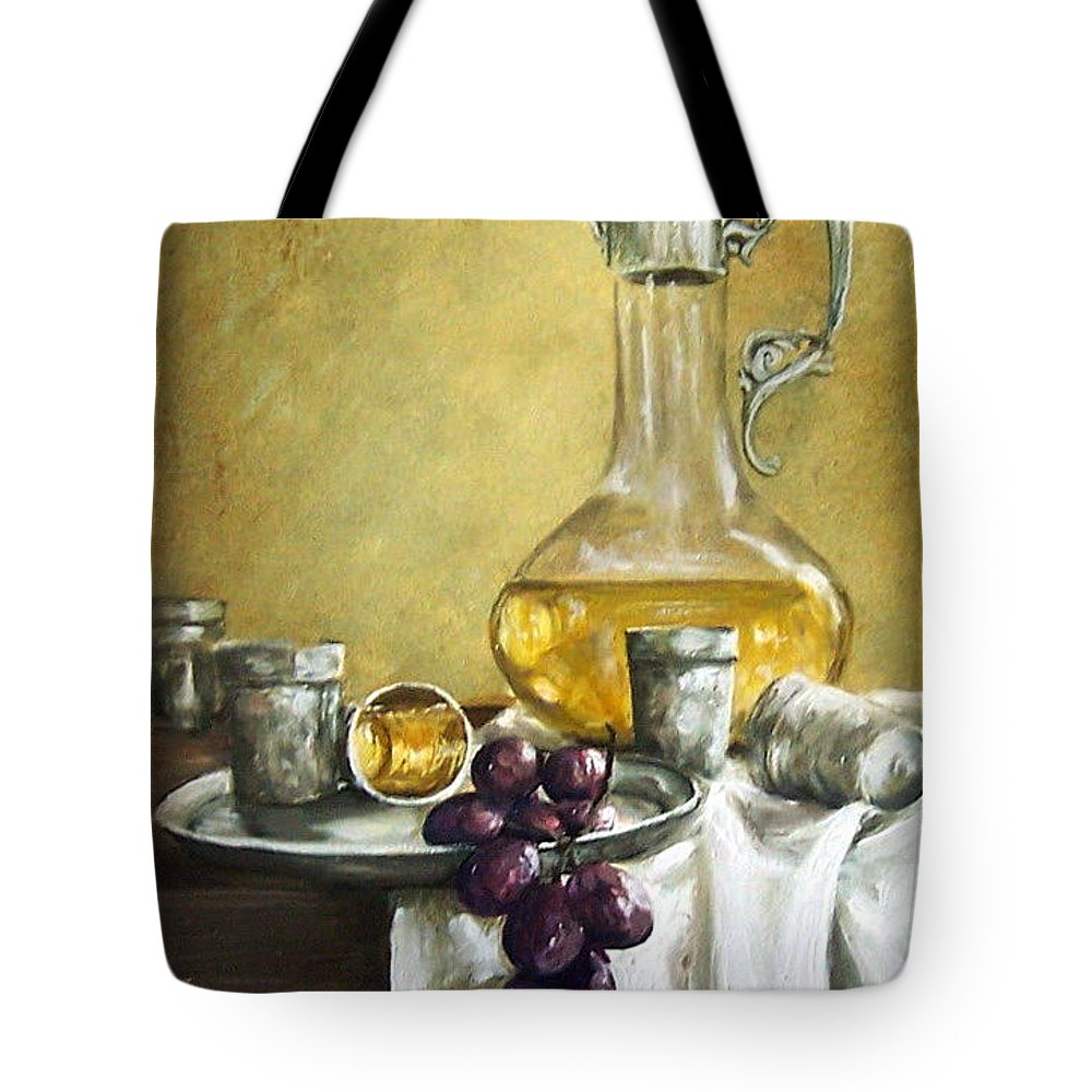 Still Life Cristal Bottle Grapes Fruits Glass Tote Bag featuring the painting Grapes And Cristals by Natalia Tejera