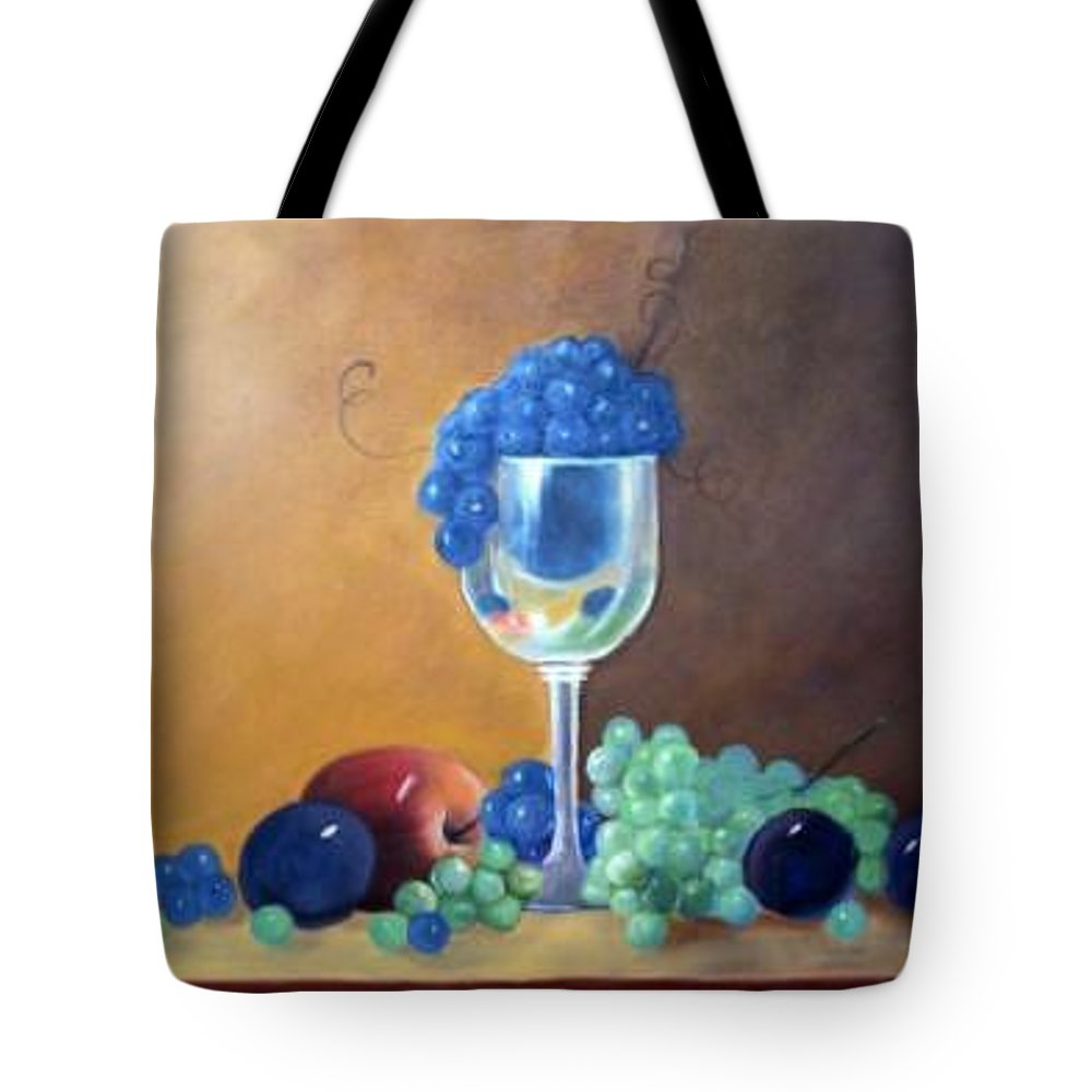 Wine Galsses With Grapes Tote Bag featuring the painting Grapes And Plums by Susan Dehlinger