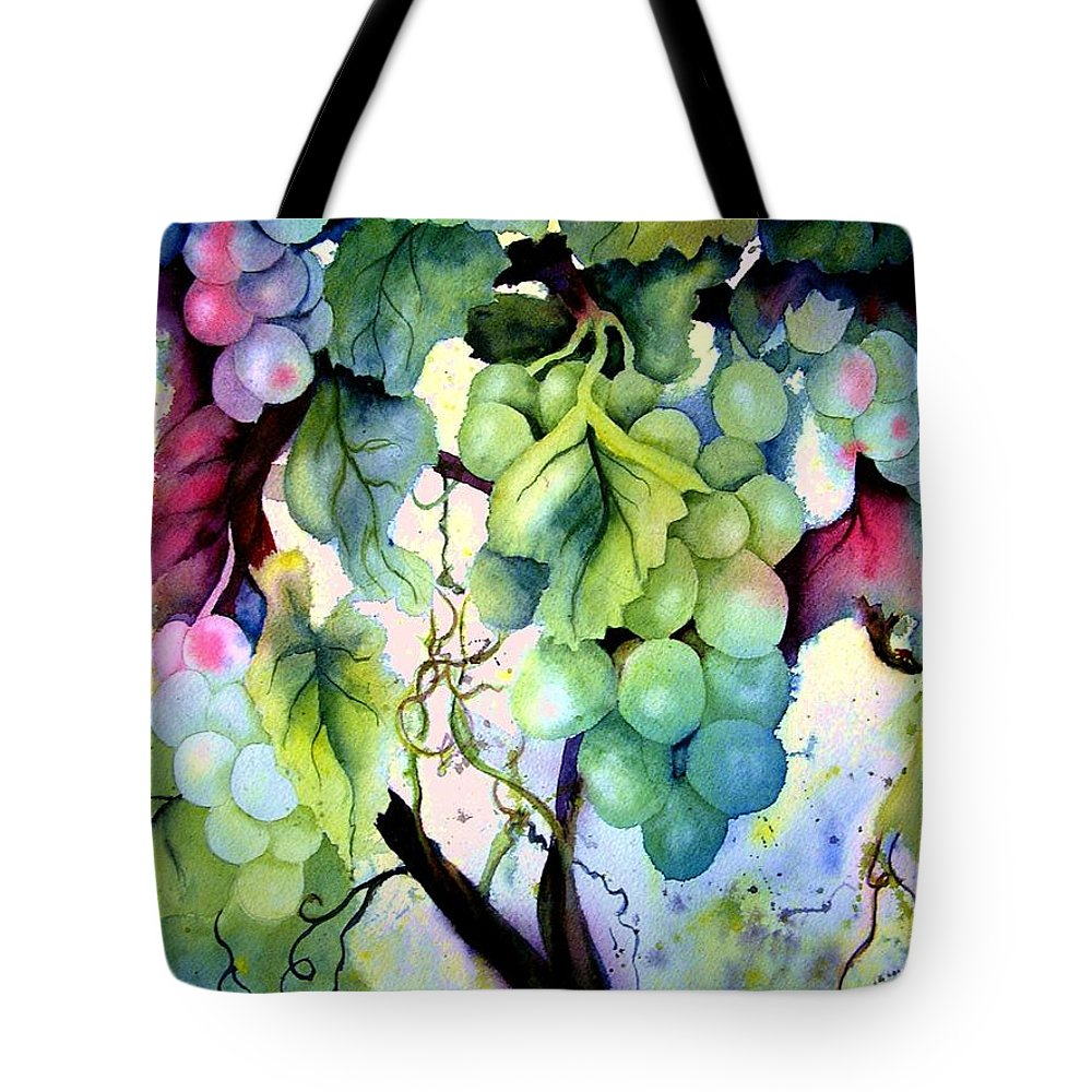 Grapes Tote Bag featuring the painting Grapes II by Karen Stark