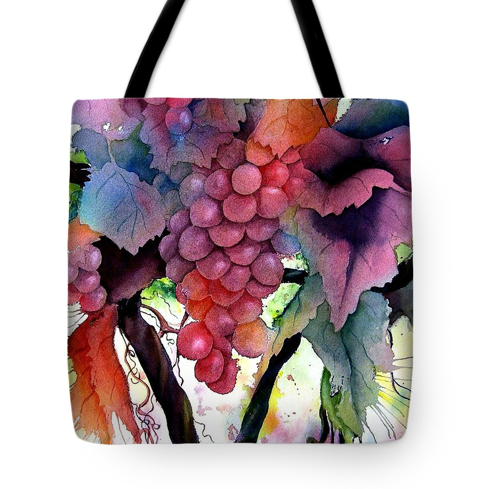 Grape Tote Bag featuring the painting Grapes IIi by Karen Stark