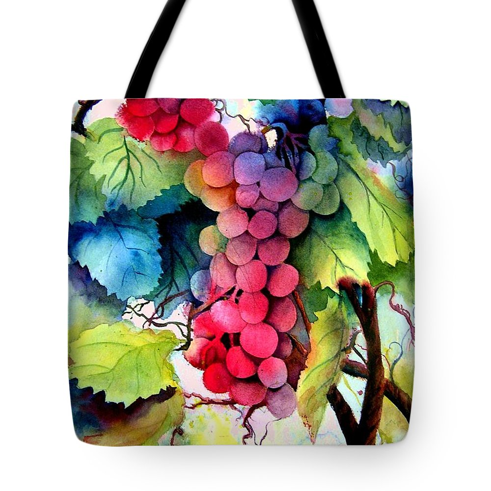 Grapes Tote Bag featuring the painting Grapes by Karen Stark