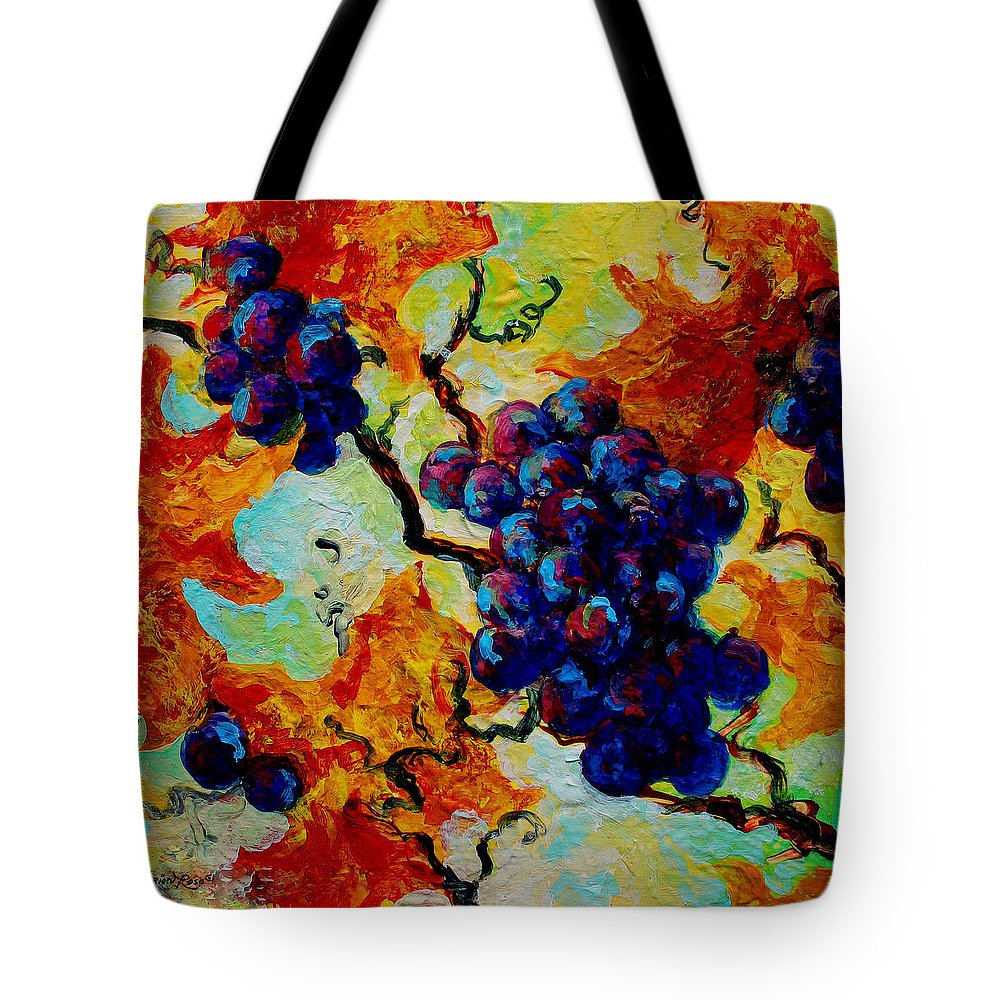 Grapes Tote Bag featuring the painting Grapes Mini by Marion Rose