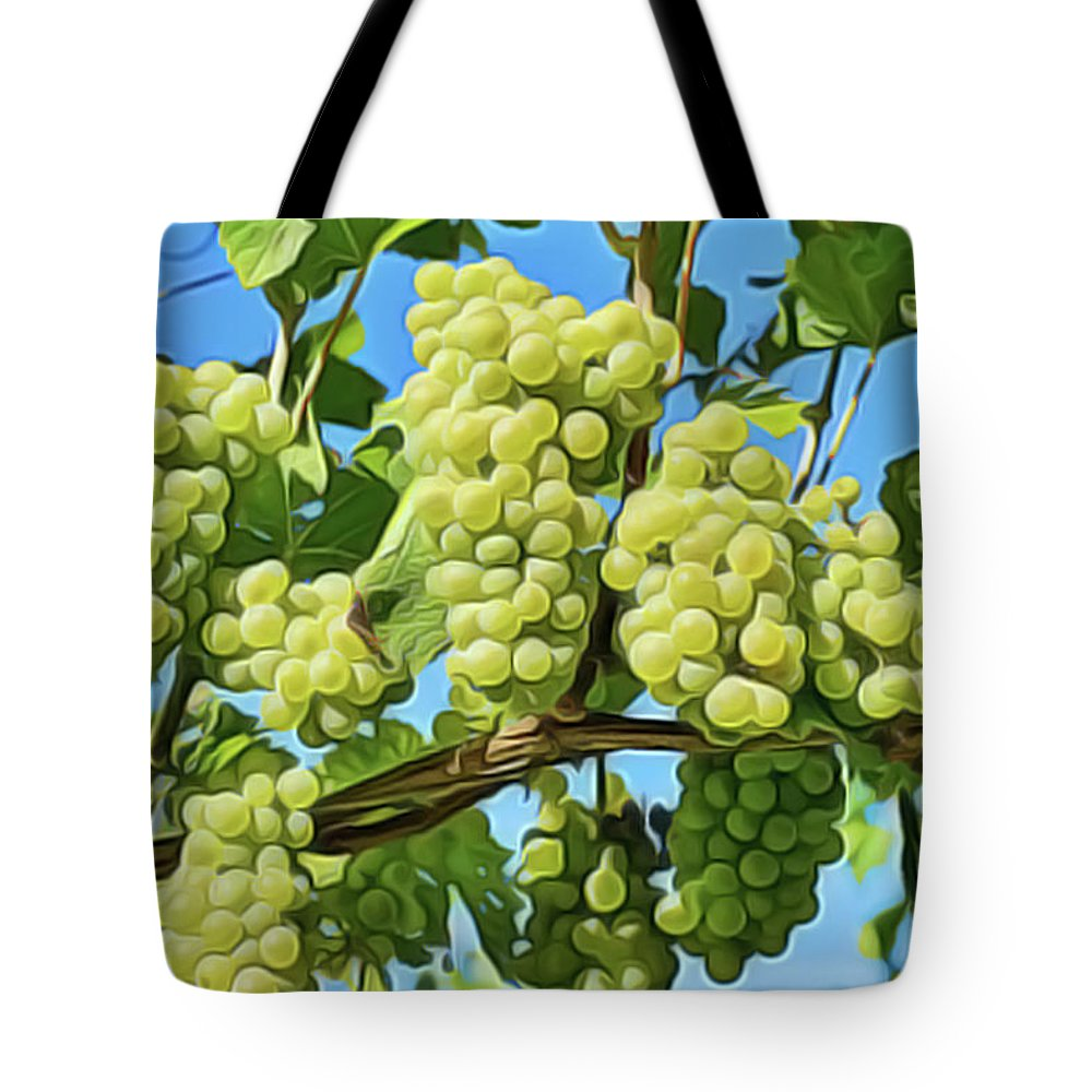 Grapes Not Wrath Tote Bag featuring the painting Grapes Not Wrath by Harry Warrick
