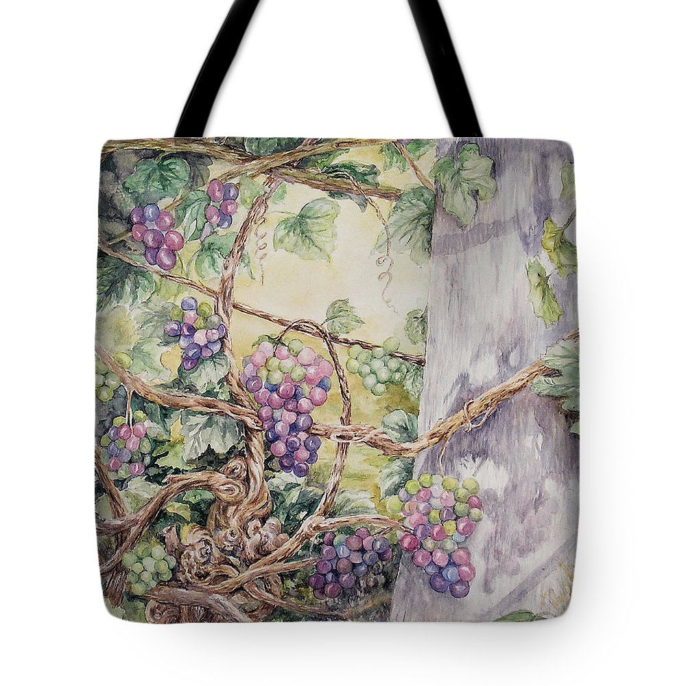 Vines Tote Bag featuring the painting Grapevine Laurel Lakevineyard by Valerie Meotti