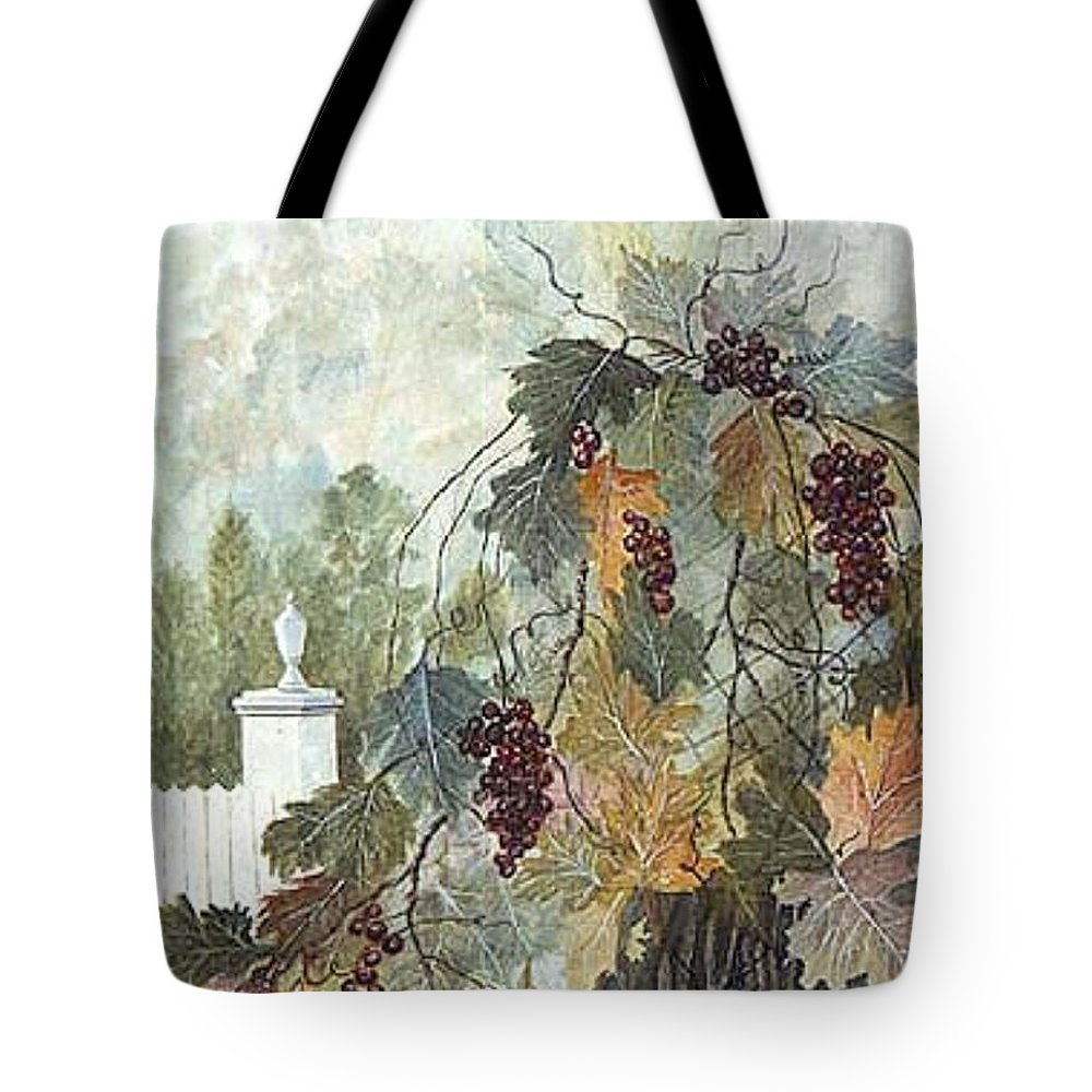 Fruit Tote Bag featuring the painting Grapevine Topiary by Ben Kiger