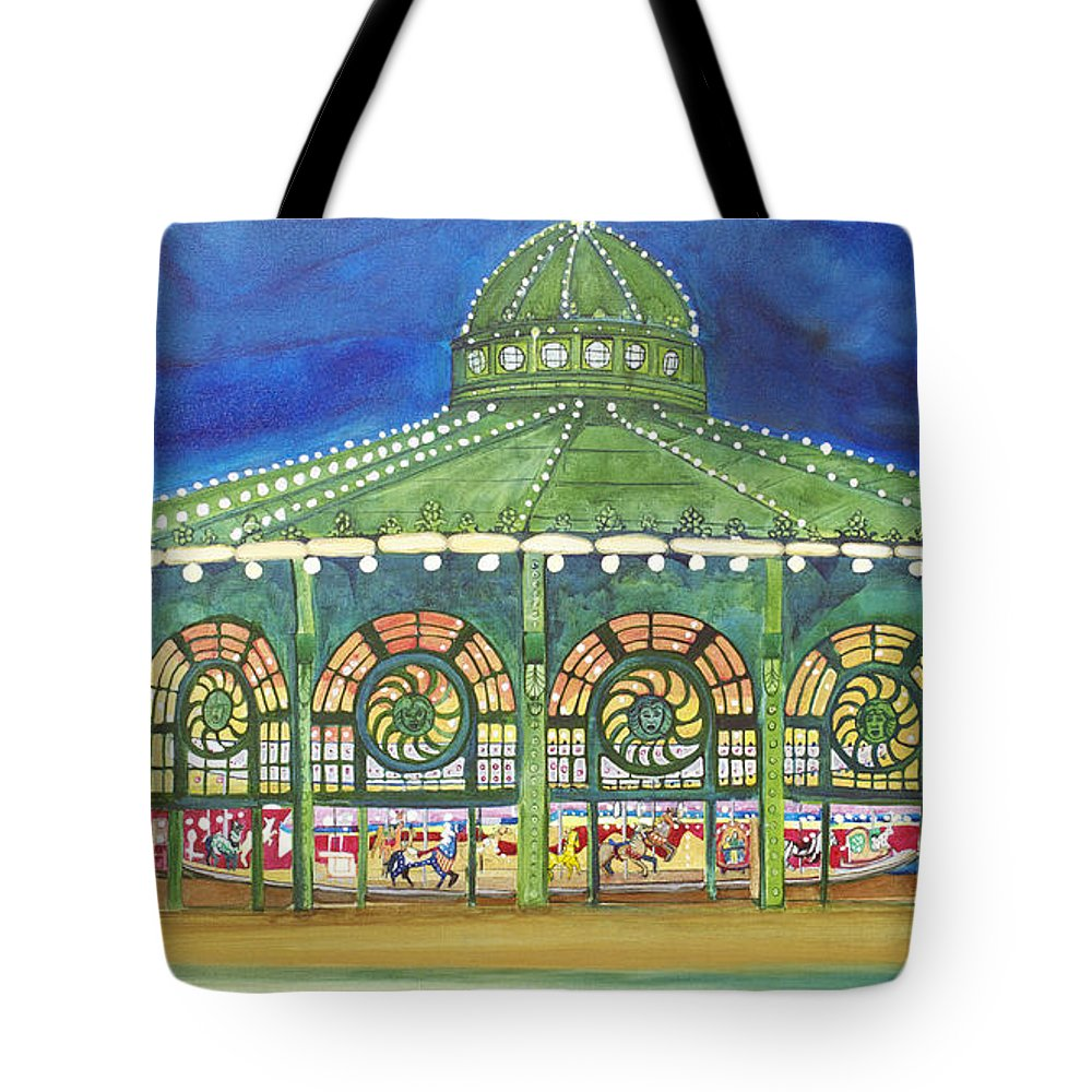 Night Paintings Of Asbury Park Tote Bag featuring the painting Grasping The Memories by Patricia Arroyo