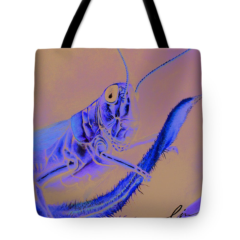 Grasshopper Tote Bag featuring the painting Grasshopper by Cindy D Chinn