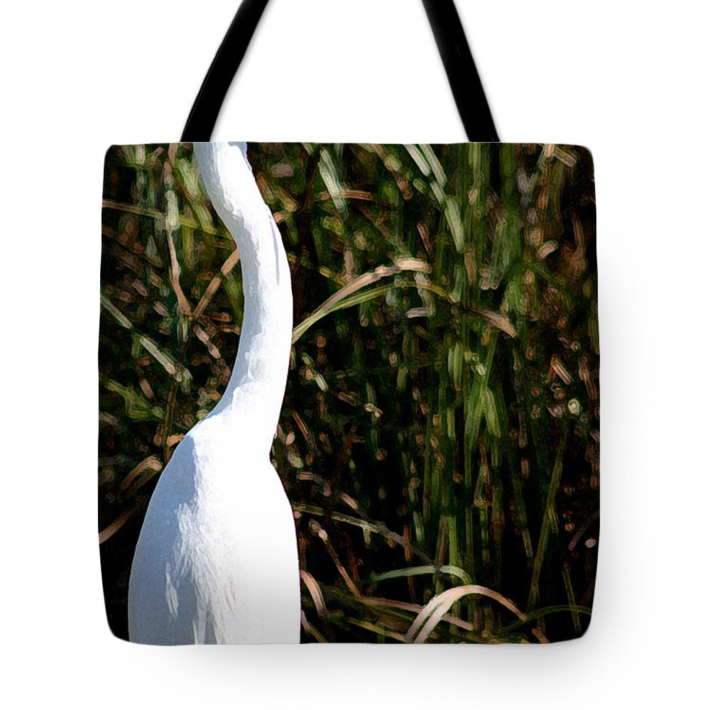 Egret Tote Bag featuring the photograph Grassy Egret by Mary Haber