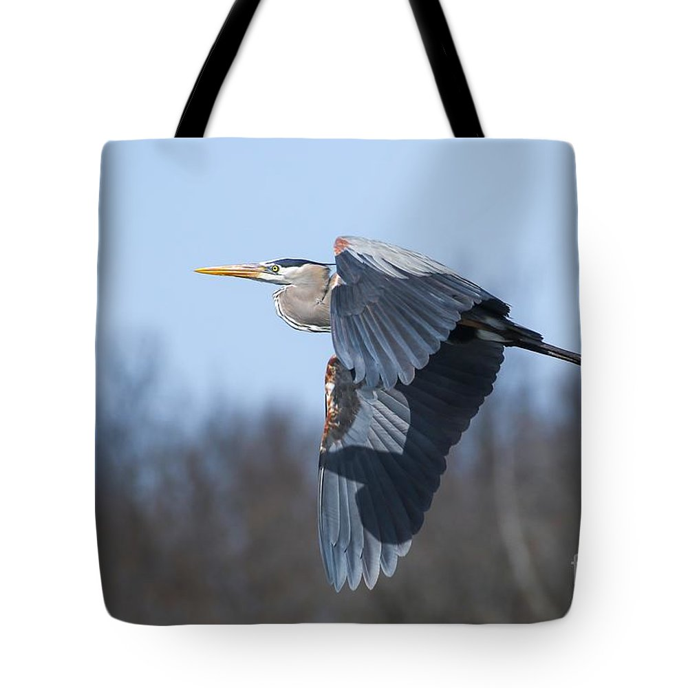 Great Blue Heron Tote Bag featuring the photograph Great Blue Heron In Flight by Susan Grube