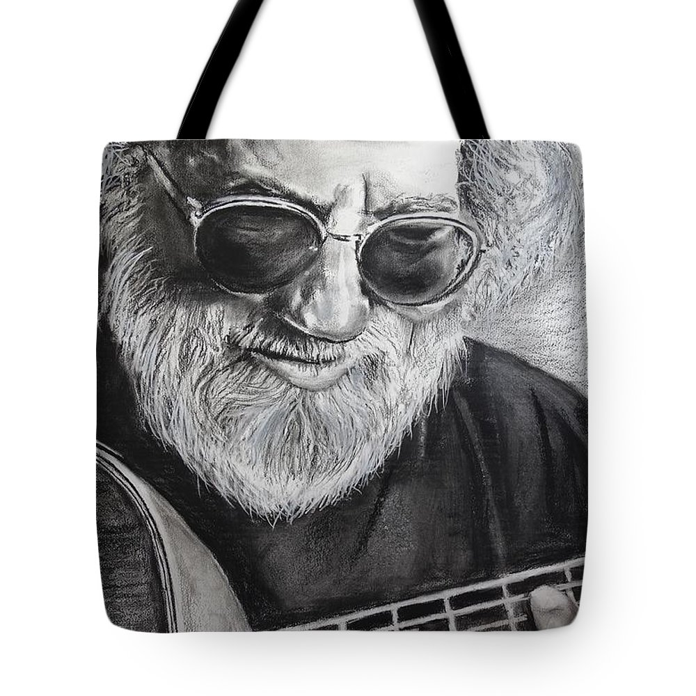 Jerry Garcia Tote Bag featuring the drawing Grateful Dude by Eric Dee