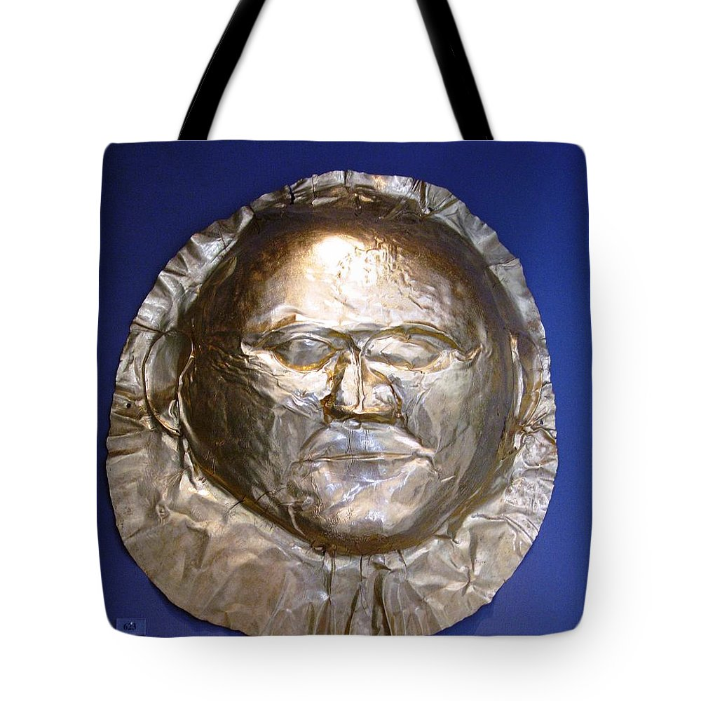 Mycenaean Gold Mask Tote Bag featuring the photograph Grave Mask by Andonis Katanos