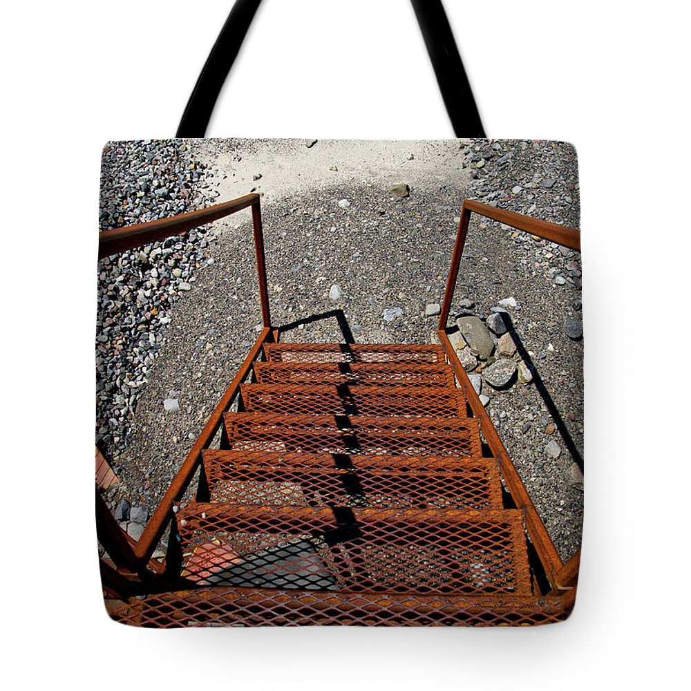 Gravel Pit Tote Bag featuring the photograph Gravel Pit Grinder Rusty Staircase by Thomas Woolworth