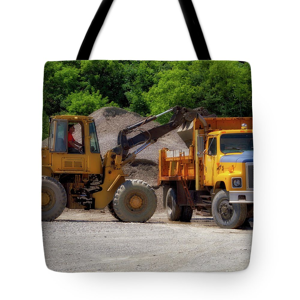 Gravel Pit Tote Bag featuring the photograph Gravel Pit Loader And Dump Truck 01 by Thomas Woolworth