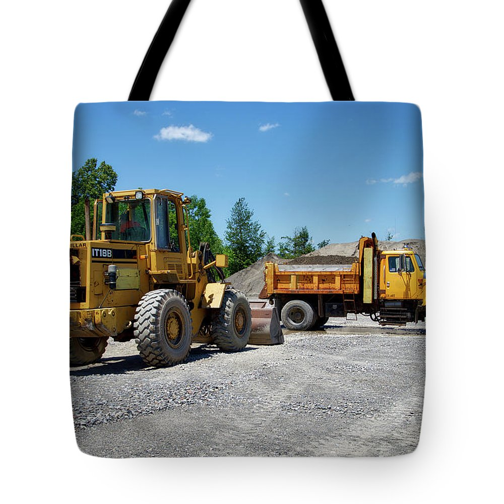 Gravel Pit Tote Bag featuring the photograph Gravel Pit Loader And Dump Truck 03 by Thomas Woolworth