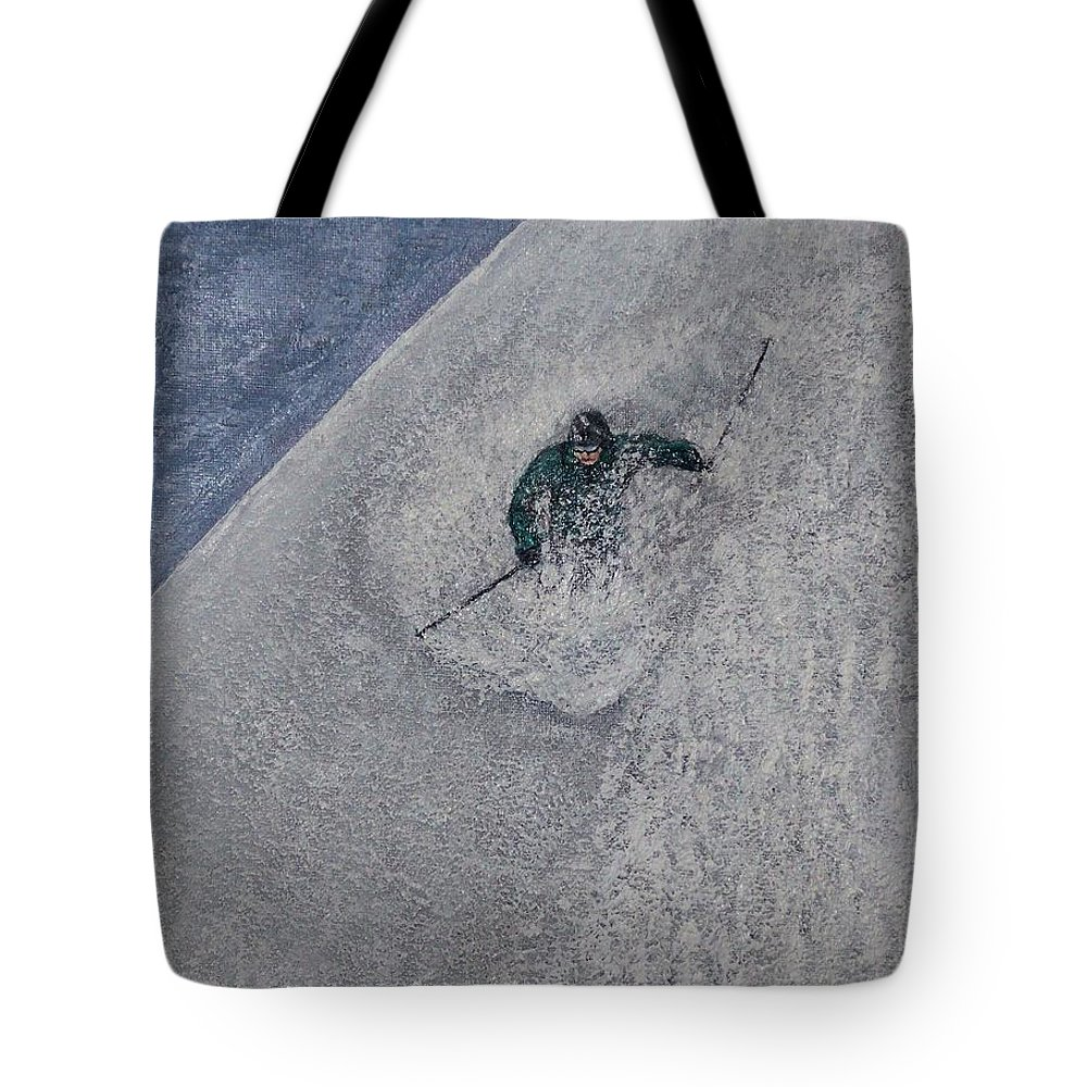 Ski Tote Bag featuring the painting Gravity by Michael Cuozzo
