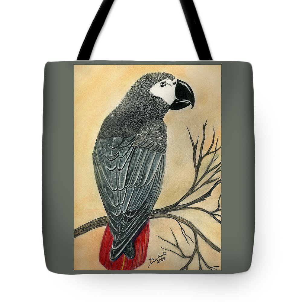 Gray Tote Bag featuring the painting Gray Parrot by Bertie Edwards