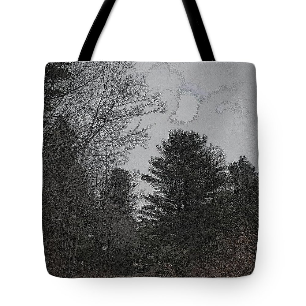 Forest Tote Bag featuring the digital art Gray Skies Over The Pines by Kevin Humphrey